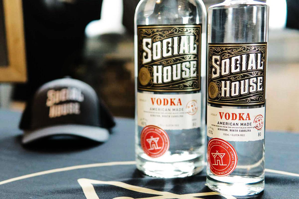 Photo of distillery sticker design on Social House Vodka bottle
