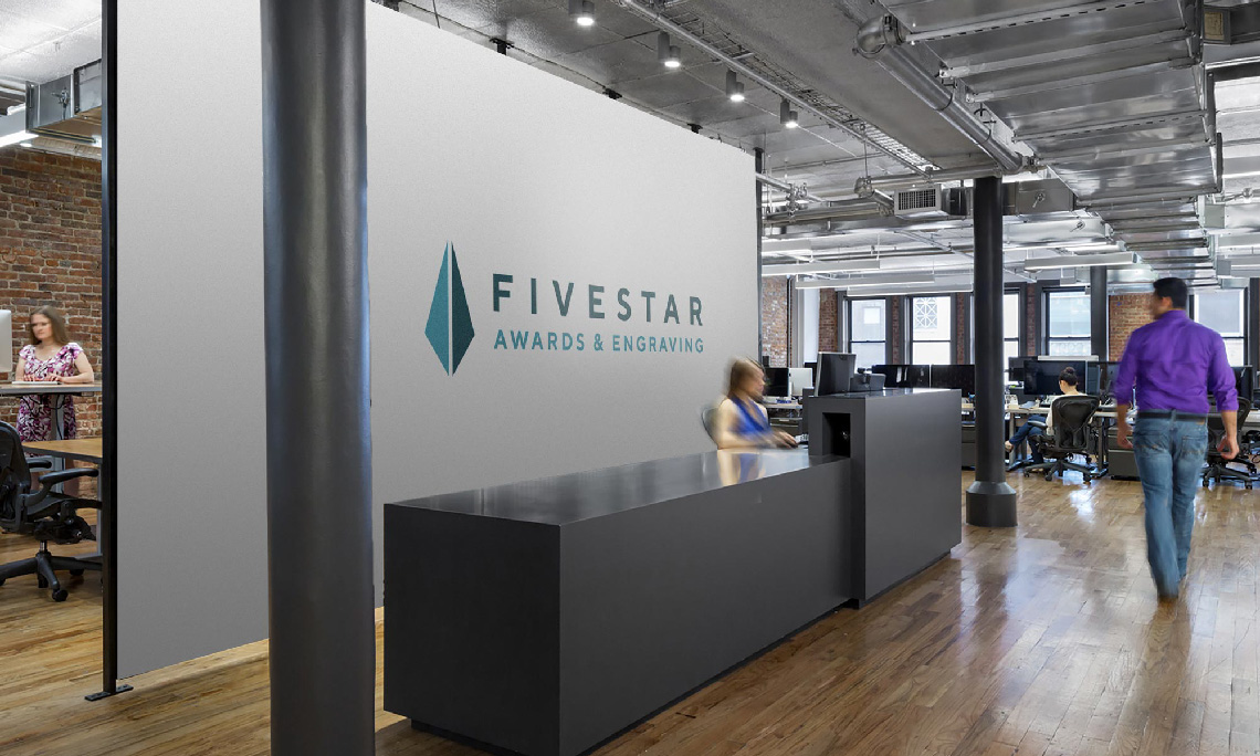 Logo and identity design mockup, office signage, for FiveStar Awards & Engraving