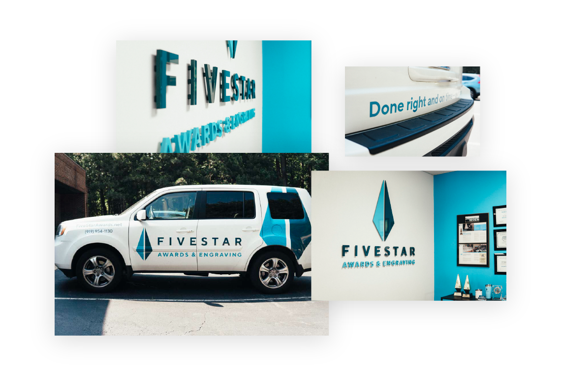 Graphic design examples for our client  FiveStar Awards and Engraving. Made with Goodness, a Raleigh NC based creative studio