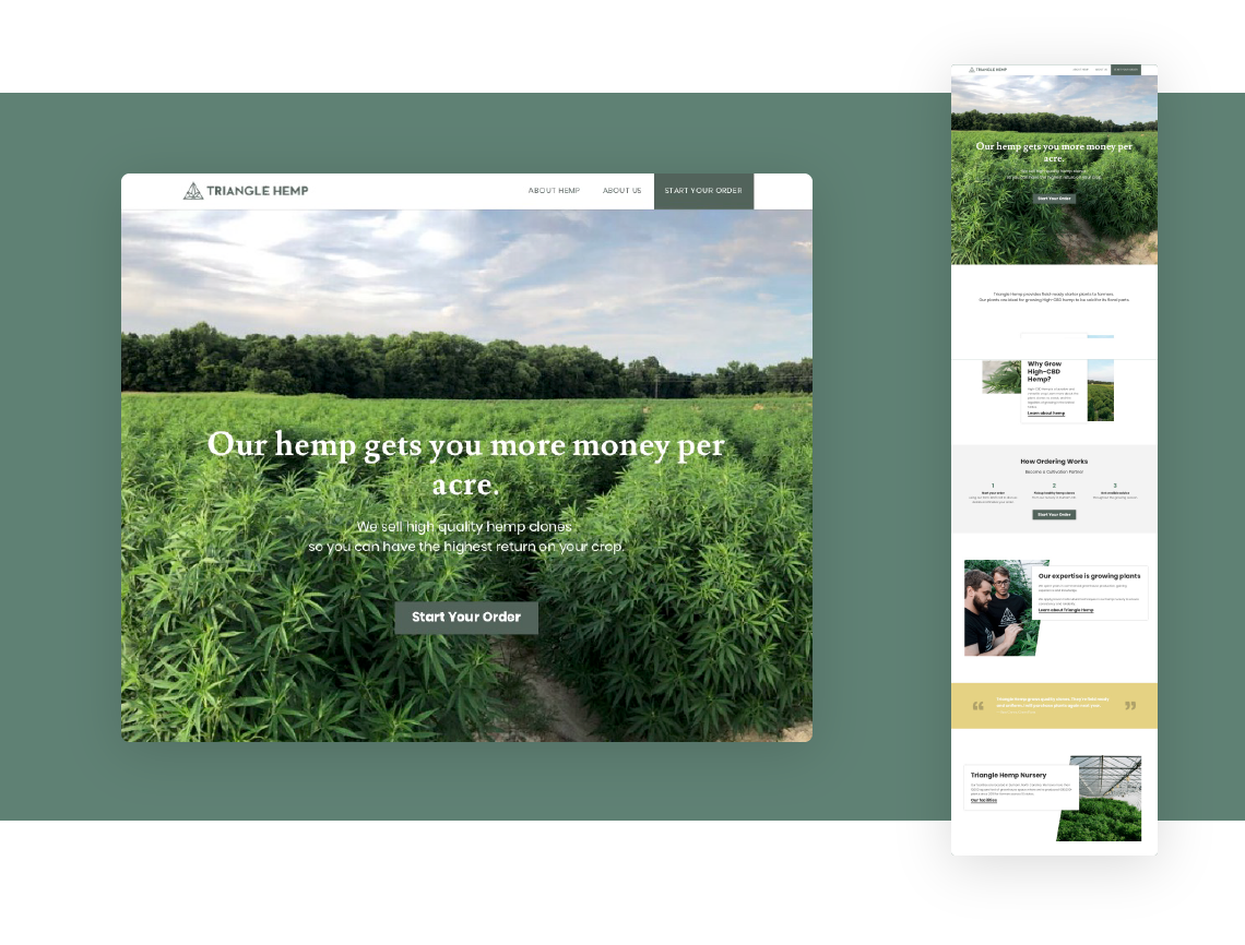 Responsive web design for Triangle Hemp