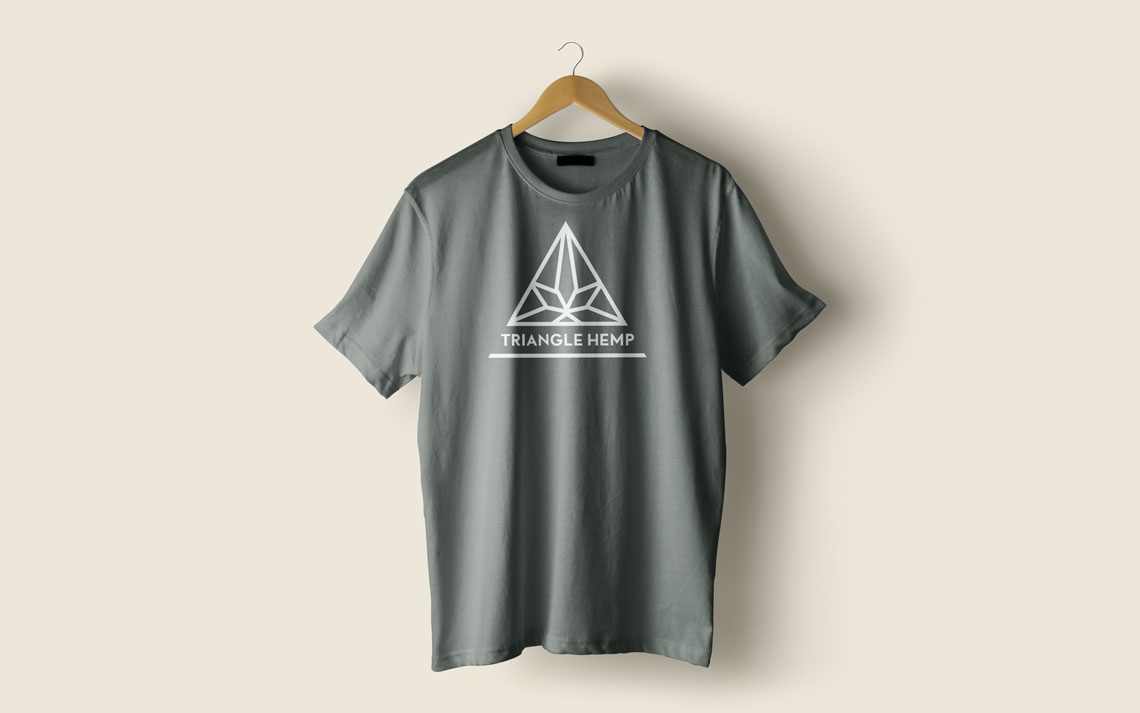 Tee shirt graphic design mockup for Triangle Hemp