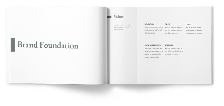 Brand foundation, vision, mission, and values booklet design example for Triangle Hemp