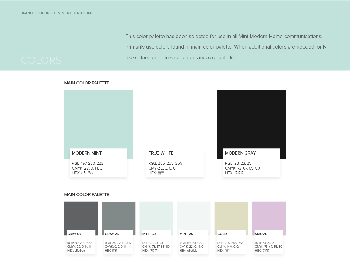 Brand guidelines: color palette for Mint Modern Home