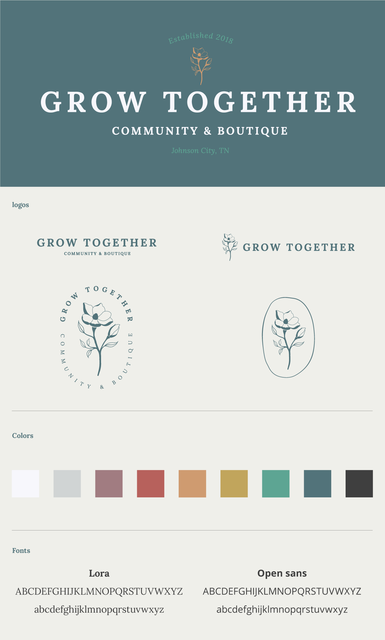 Logo and identity design for Grow Together, a community and boutique for new and expecting moms
