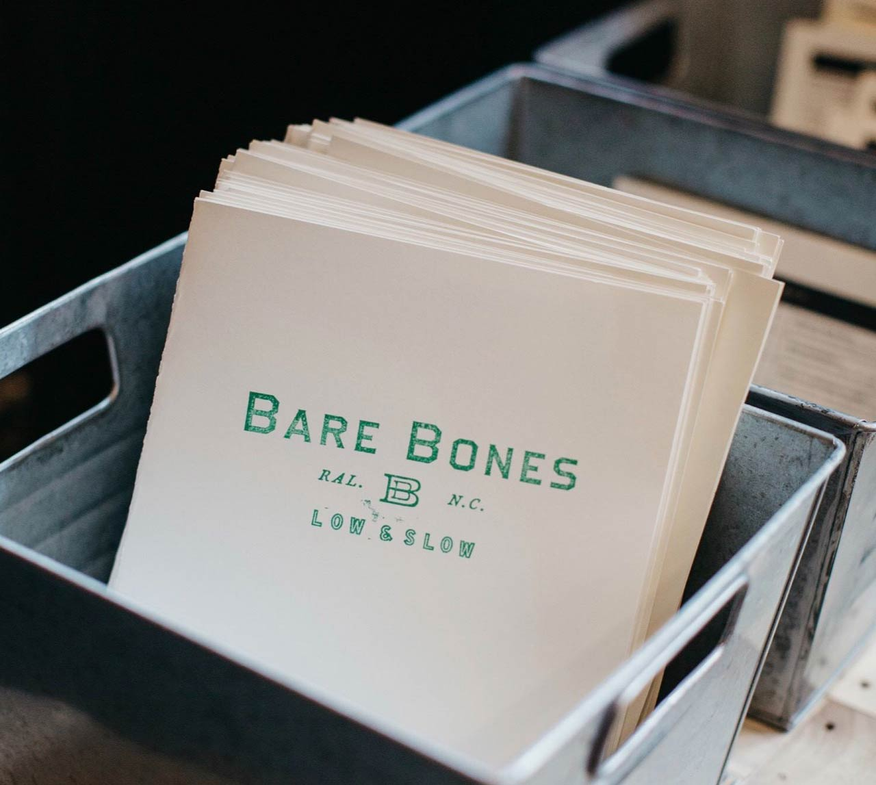 Restaurant Menu print design • Bare Bones Raleigh NC
