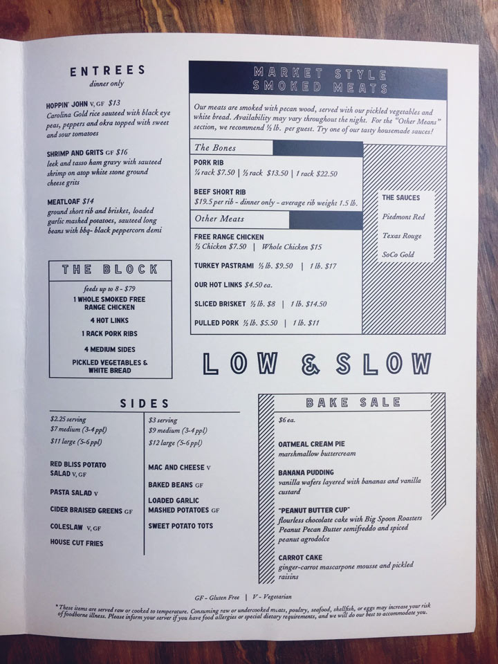 Hipster restaurant menu design for Raleigh eatery