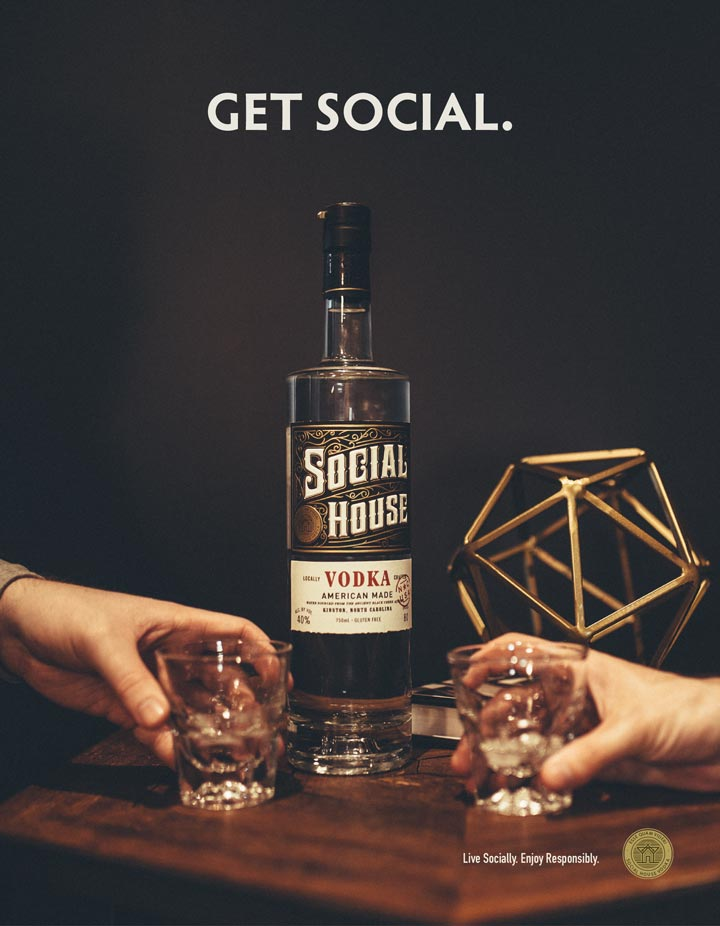 Advertisement design for Social House Vodka developed by Goodness creative studio