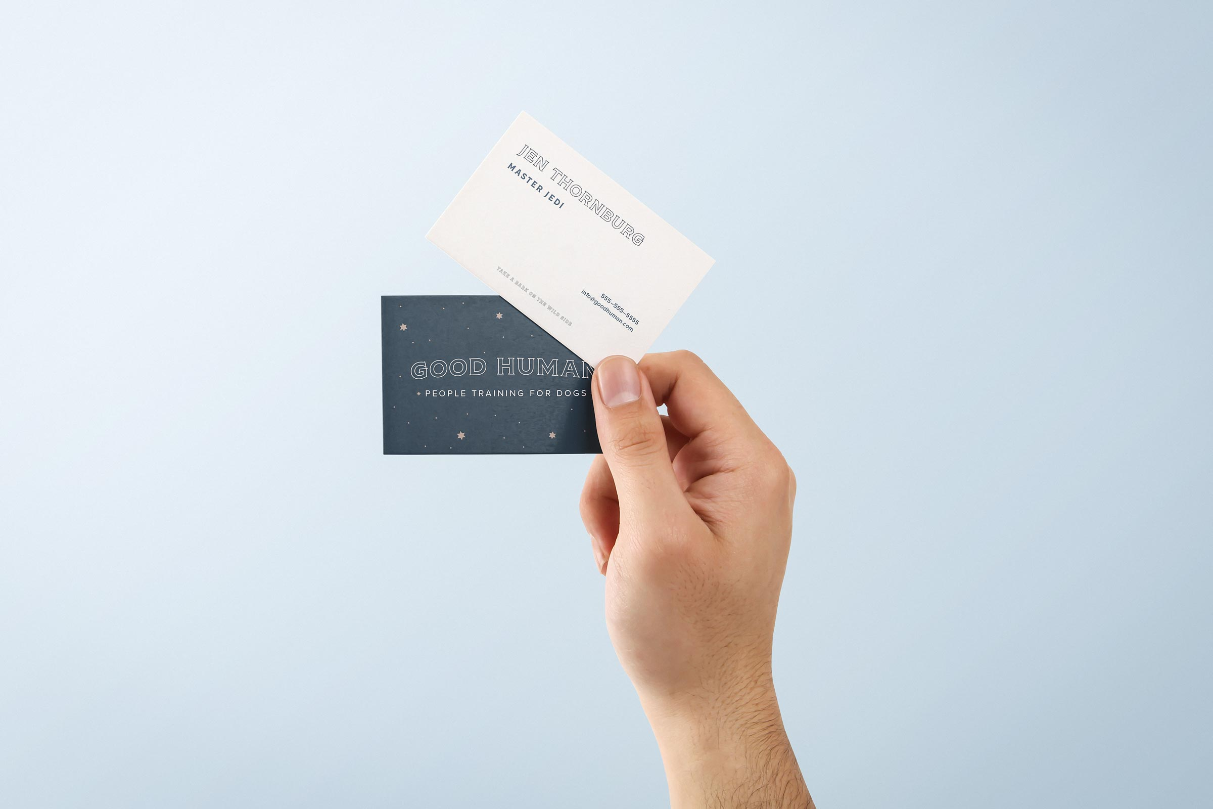 Business card design mockup Good Human Dog training by Goodness brand agency