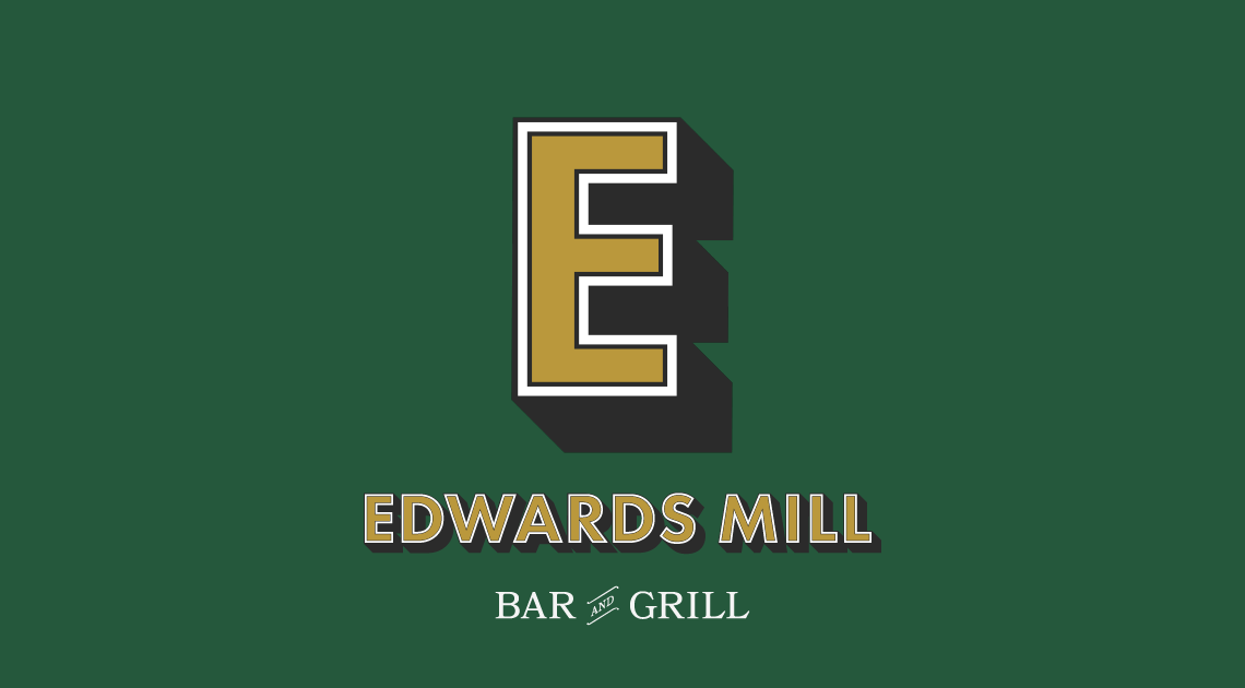 Cool trendy logo design for a neighborhood sports bar • Brand identity for Edwards Mill Bar and Grill in Raleigh NC