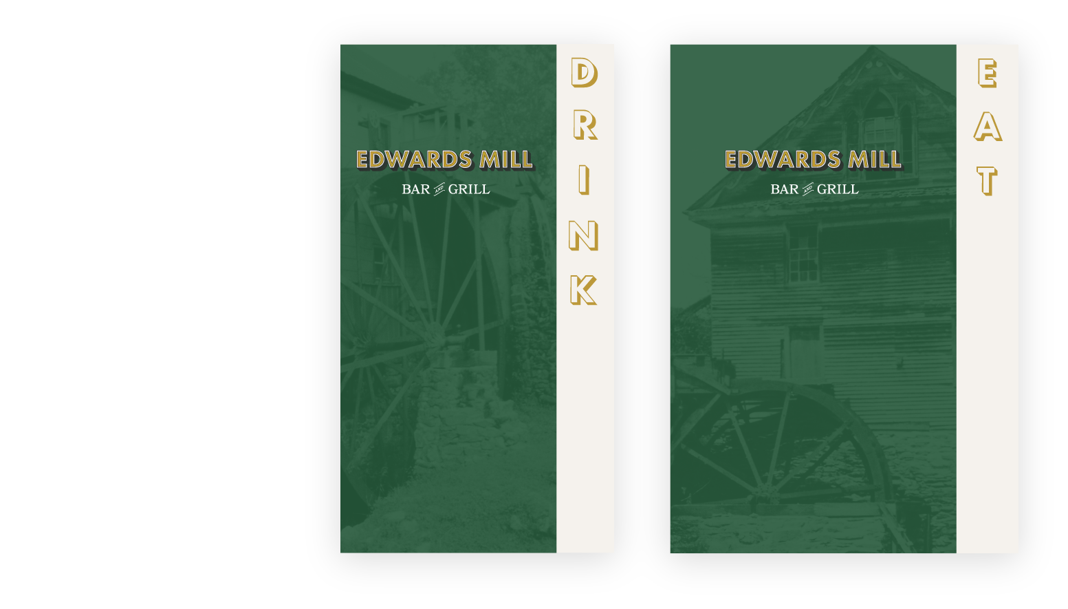 Restaurant menu print design mockups for Edwards Mill Bar and Grill