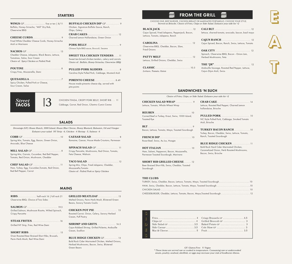 Restaurant menu print design spread for local sports bar - Edwards Mill Bar and Grill