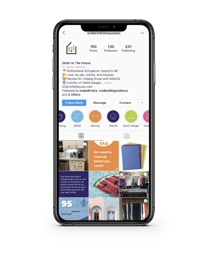 Social media marketing for professional home organizing company Order in the House