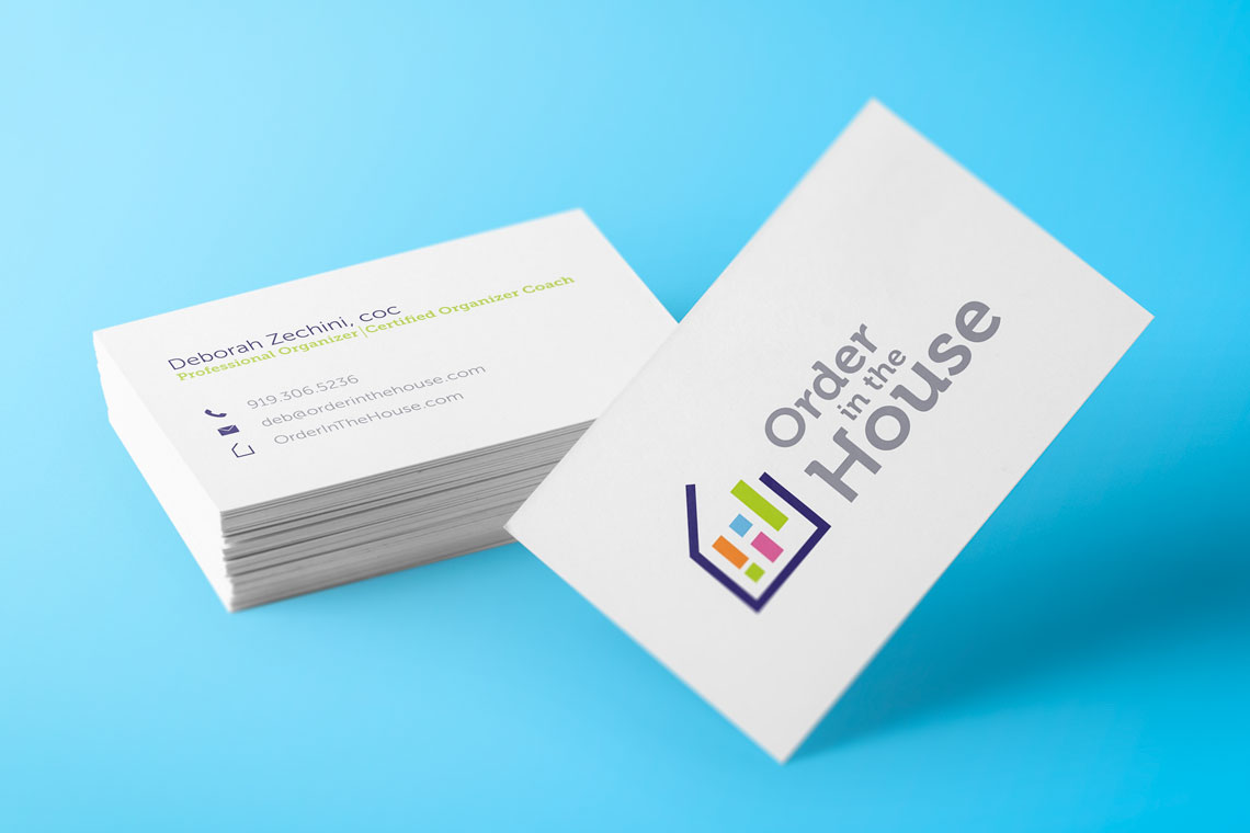 Business card mockup for Order in the House by Deb Zechini