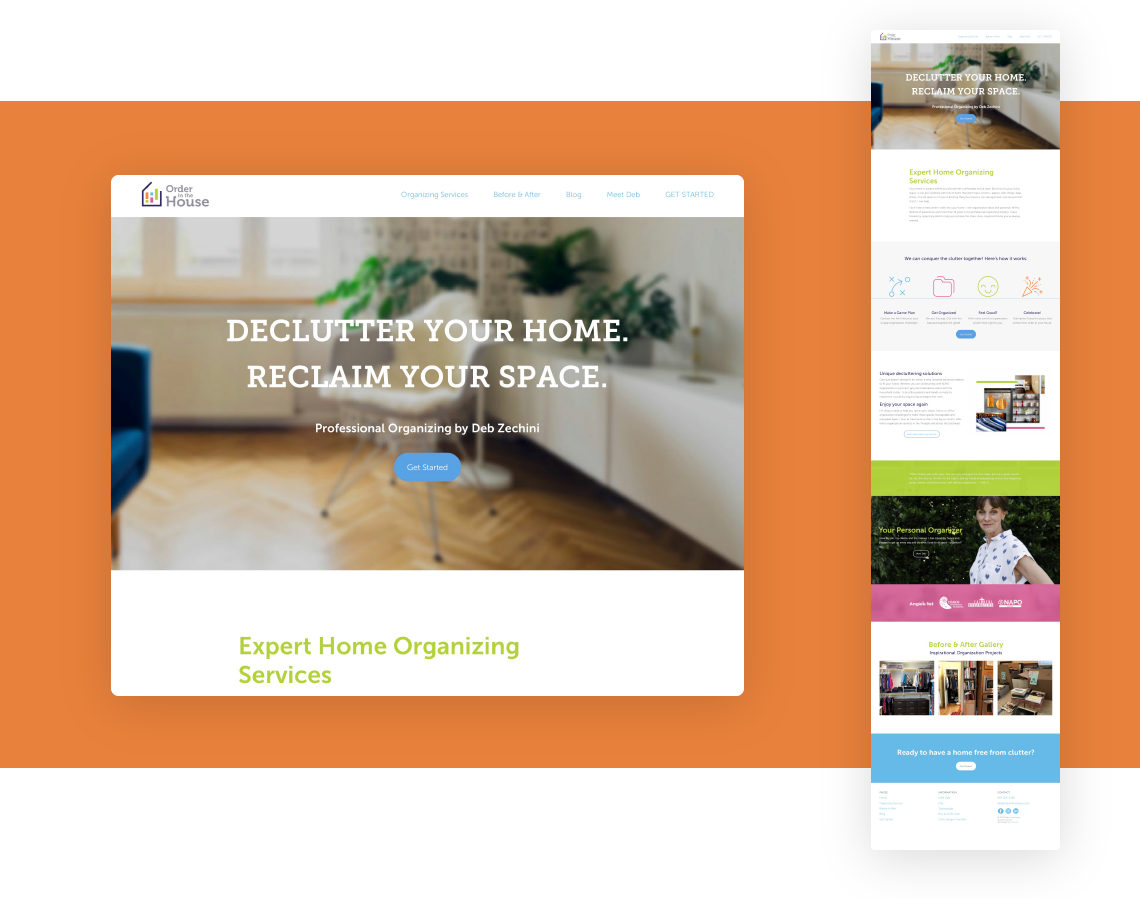 Responsive web design and development for professional home organizer