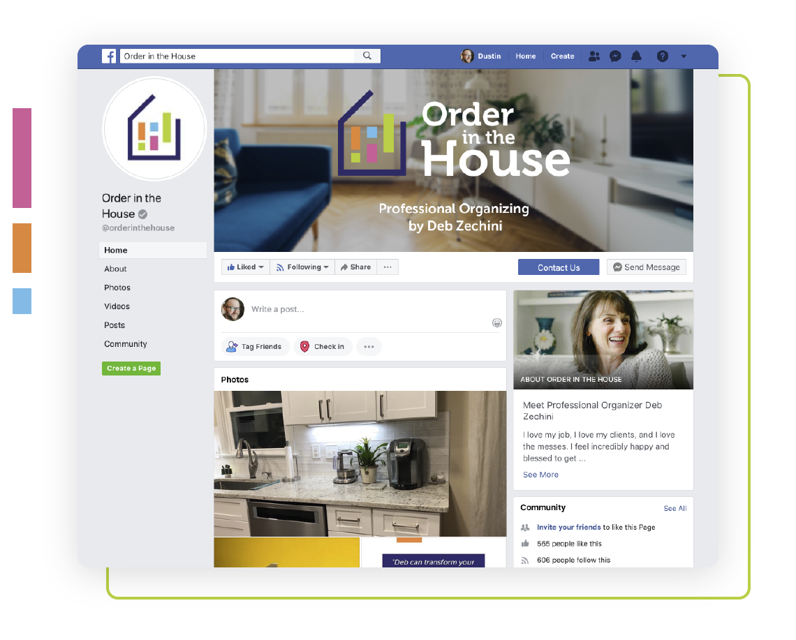 Facebook marketing services for home organizer Deb Zechini