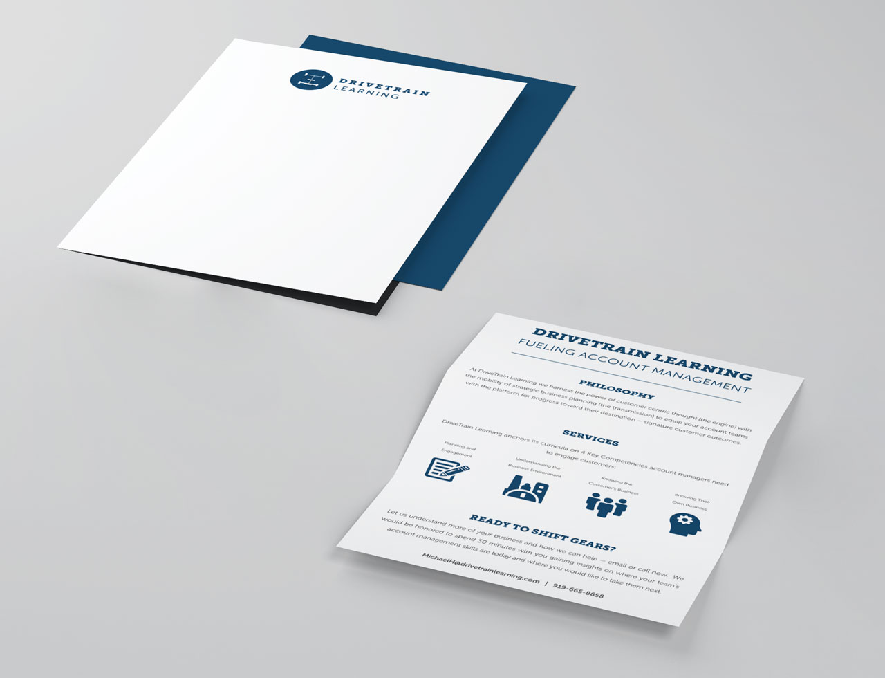 Letterhead and brochure mockup for pharmaceutical sales training company DriveTrain Learning