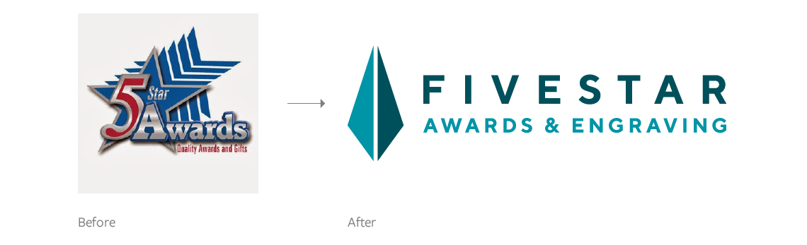 Logo design before and after,  FiveStar Awards and Engraving