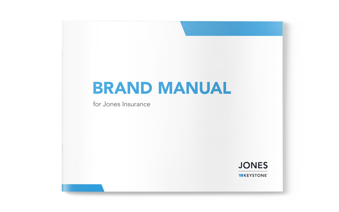 Brand manual mockup for Jones Insurance • Goodness creative studio developed this client's vision mission values and customer personas