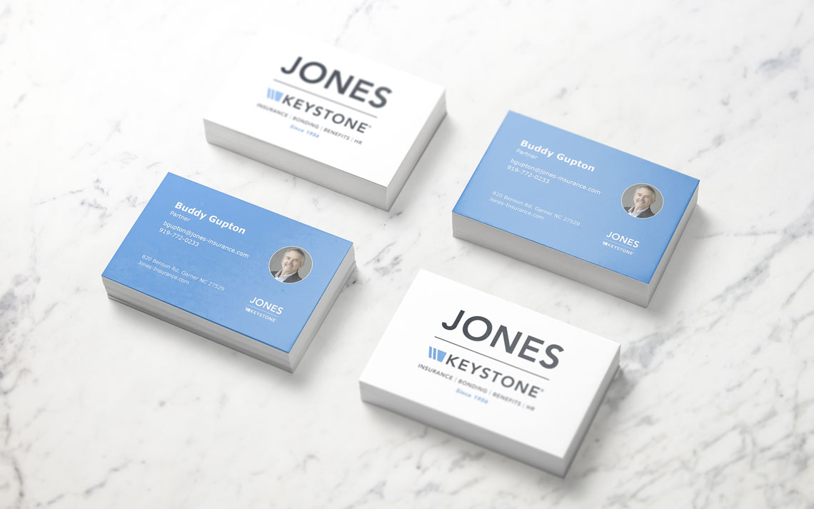 Business card design mockup for Garner NC based business insurance company