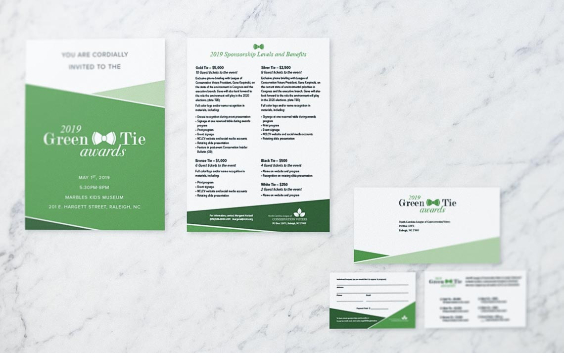 Graphic design collateral for the 2019 Green Tie Awards • produced by Goodness creative studio in Raleigh NC