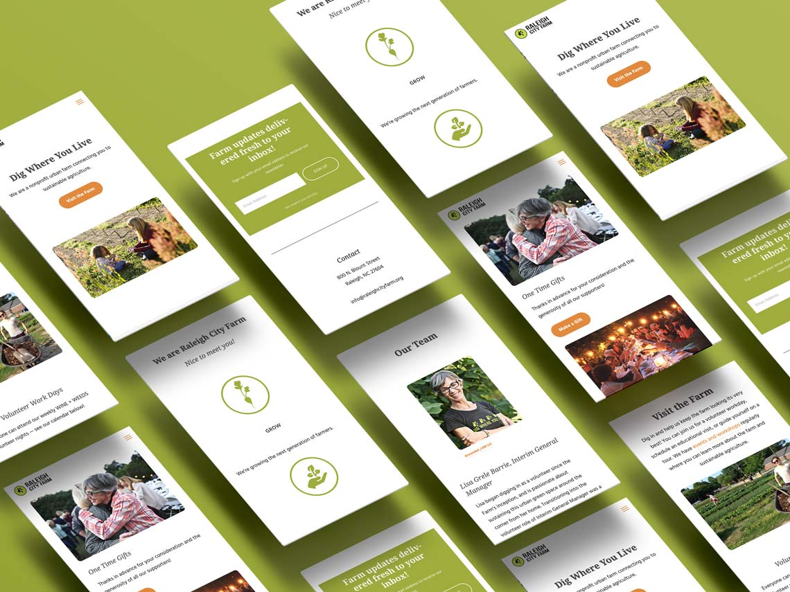 Isometric mobile web design mockup for Raleigh City Farm