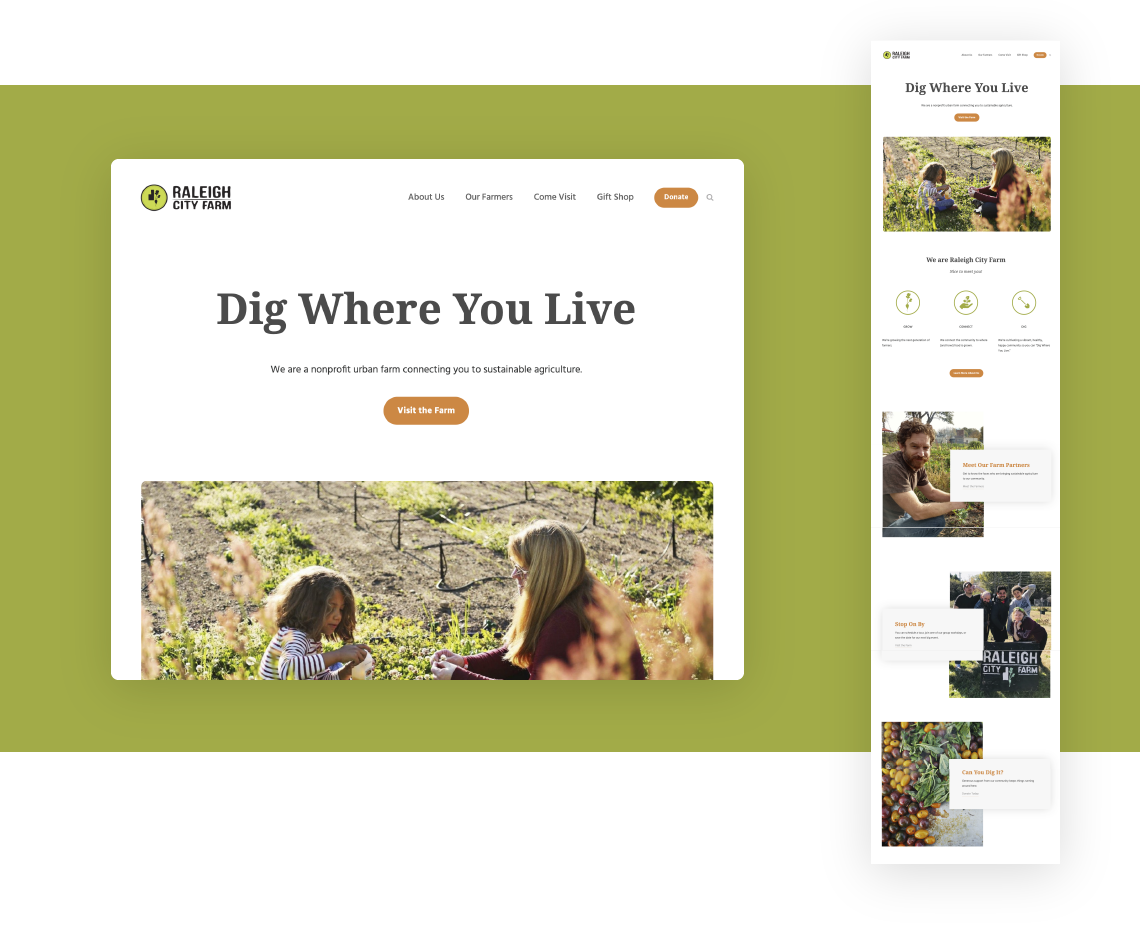 Responsive website design and development for Raleigh City Farm