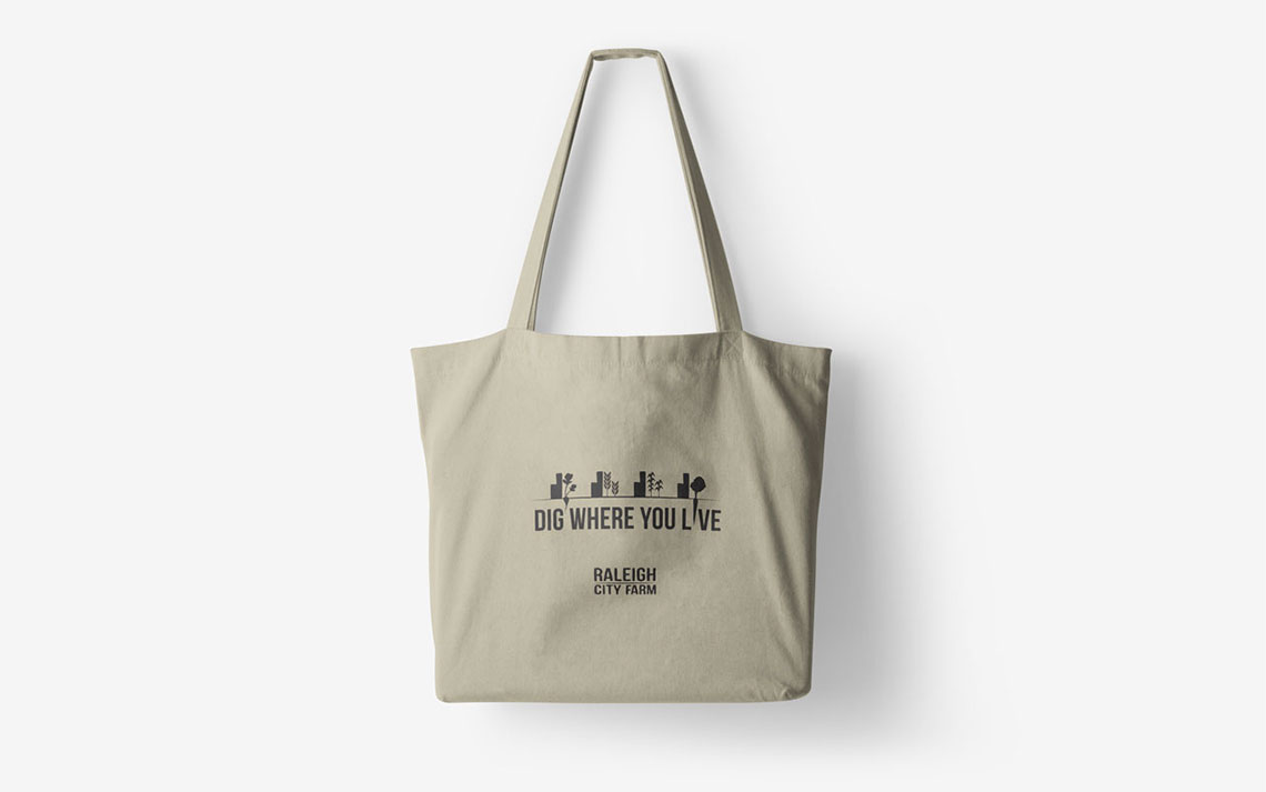 Tote bag graphic design mockup for Raleigh City Farm