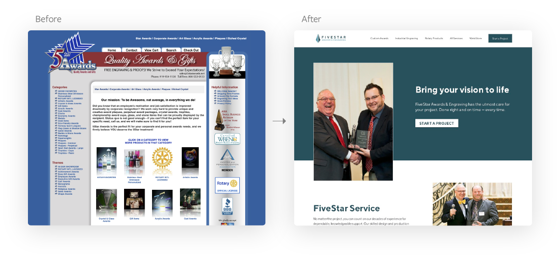 Before and after web design for FiveStar Awards & Engraving