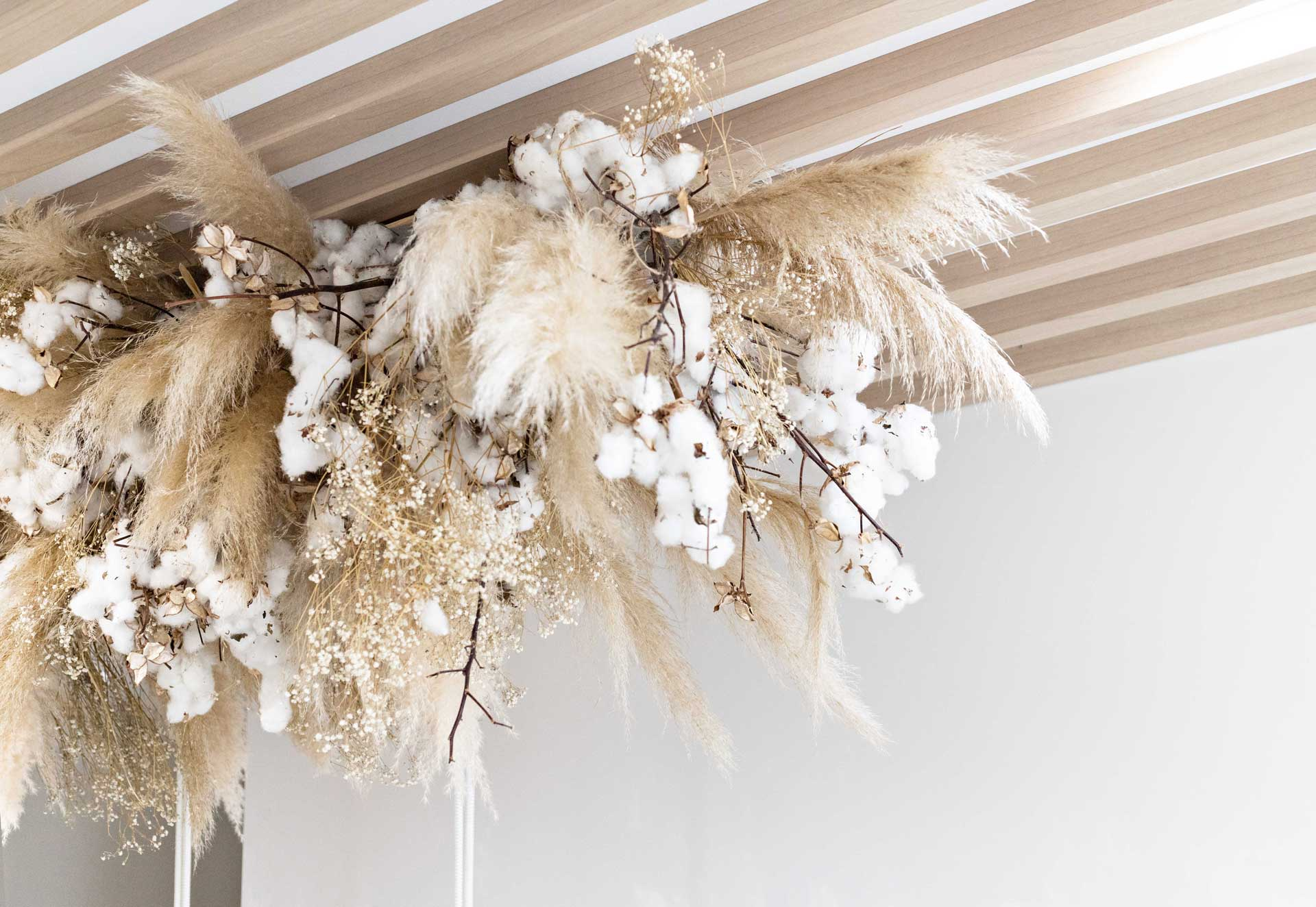 Interior styling of dried flower installment