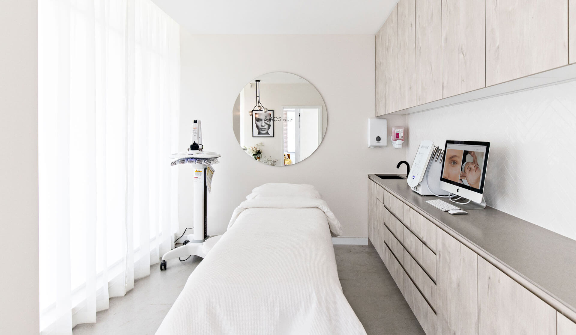 Interior design of cabinets in beauty clinic room
