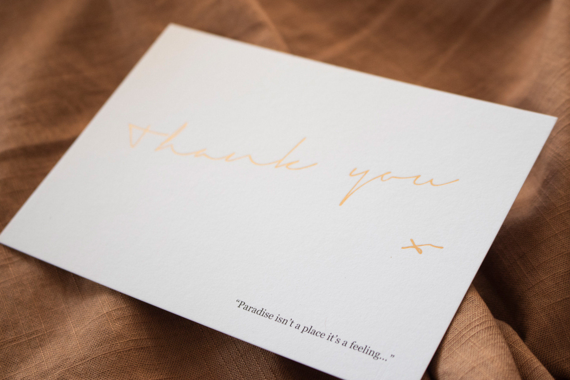 Close up of thank you card graphic design