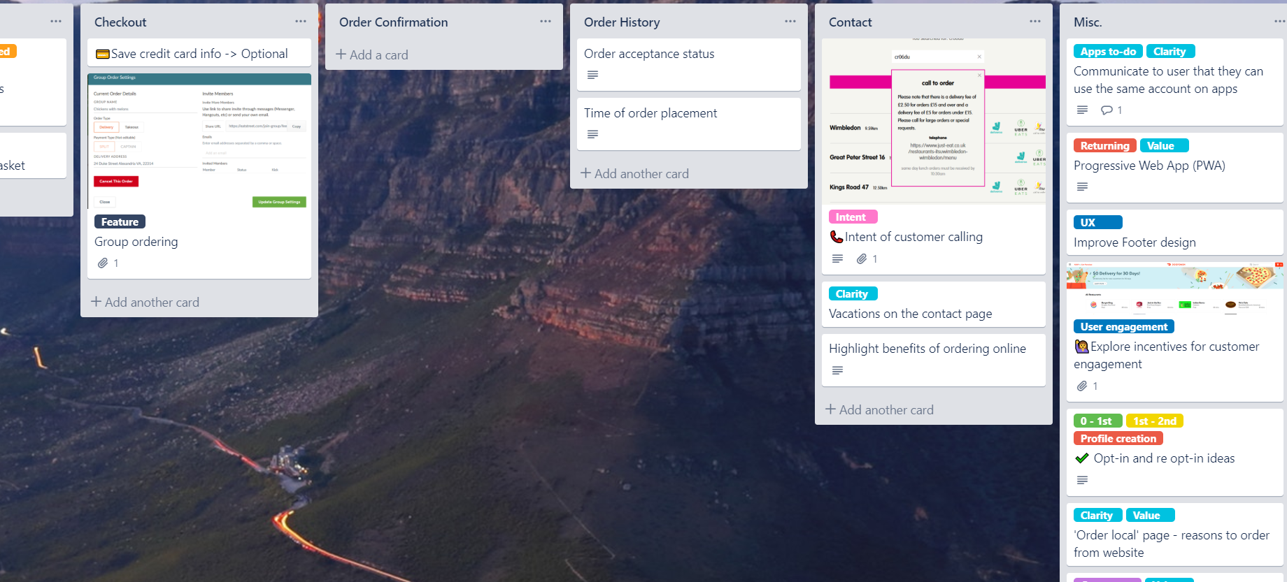 Preview of Trello board used for noting down ideas