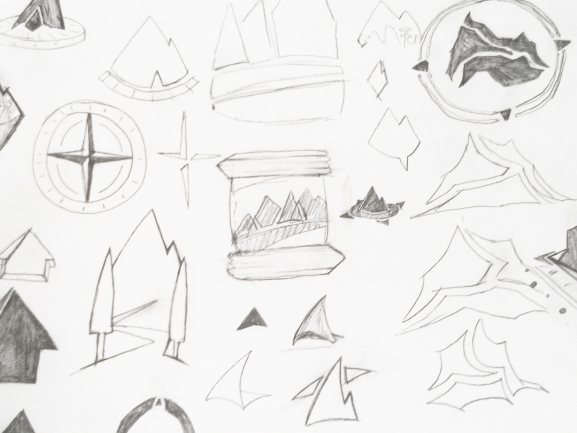 Initial Sketches of Trail Guide WebWorks Logo Concepts