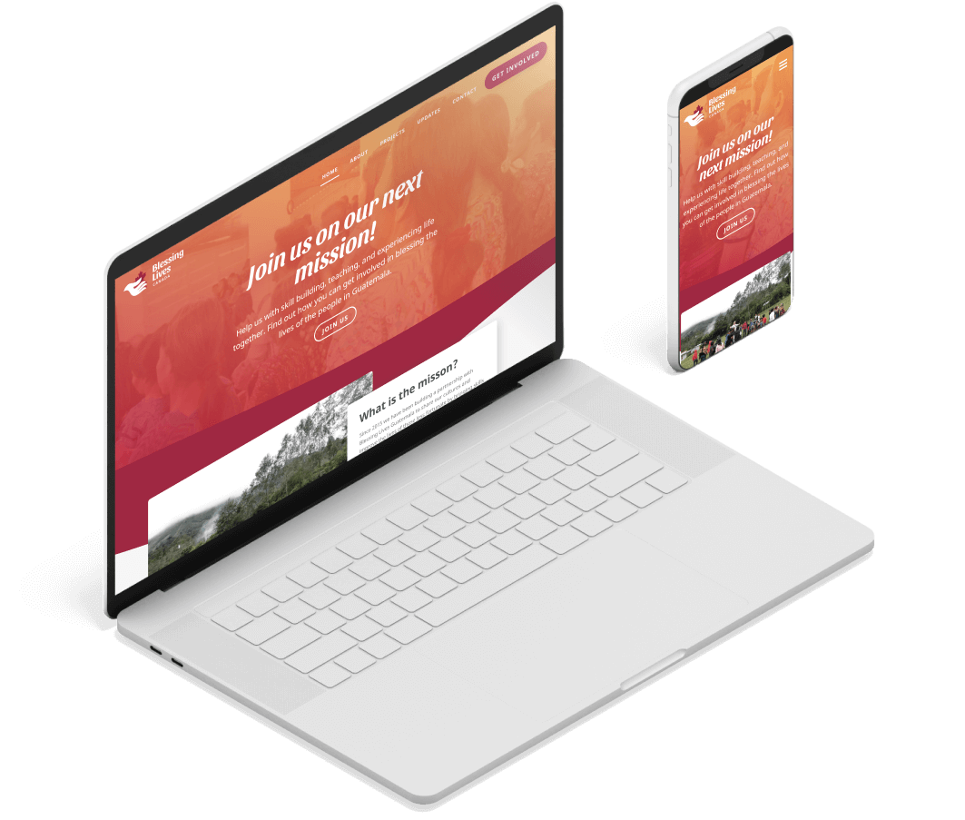 Blessing Lives Responsive Web Design mocked up in Devices