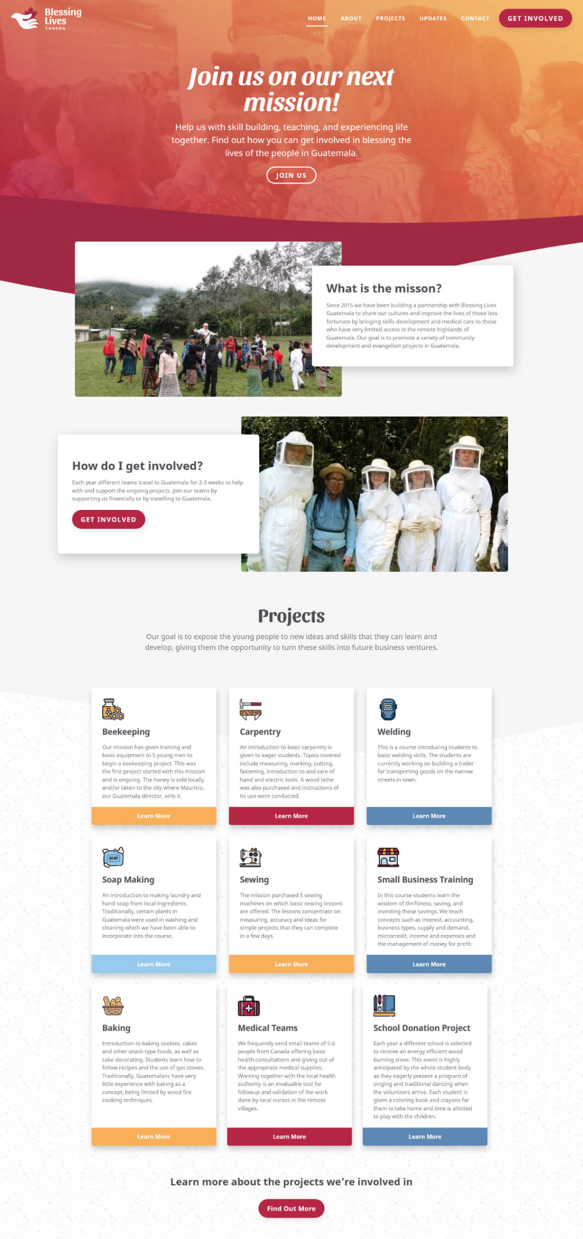 Screenshot of the finished website design of the Blessing Lives homepage