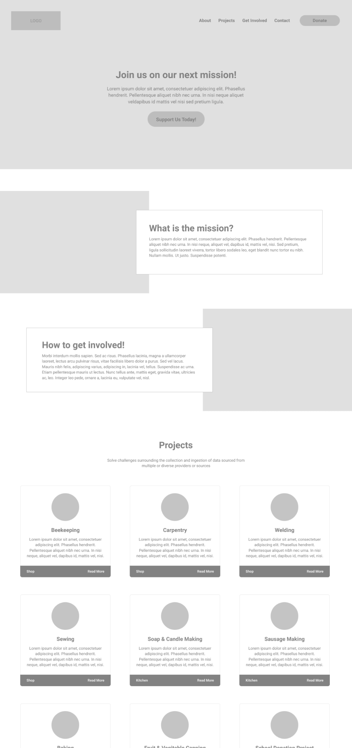 Wireframe screenshot of the Blessing Lives homepage