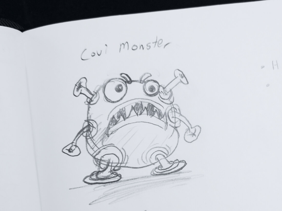 An initial sketch of the Covi Monster character