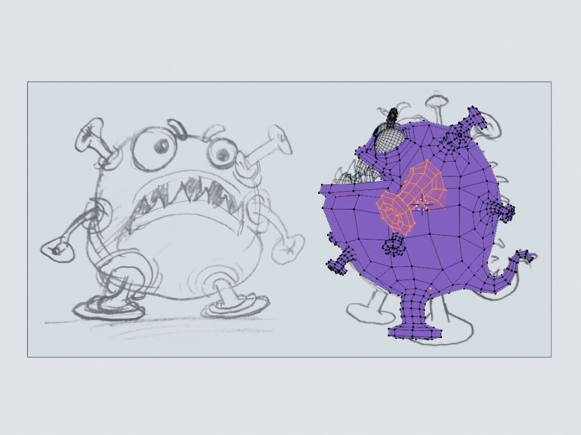 A screenshot of the 3D Illustration process building the Covi Monster character in 3D.