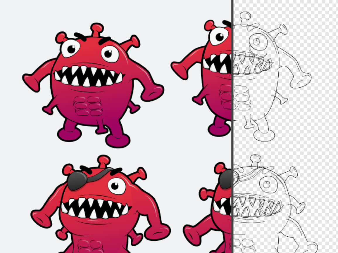 A screenshot of the different versions of the Super Covi Monster we created. It shows the underlying wireframe of the illustration as well.