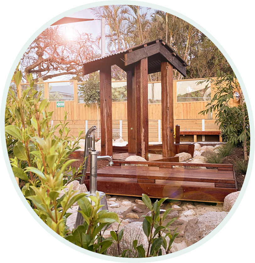 The custom designed backyard to enhance the children's learning potential.