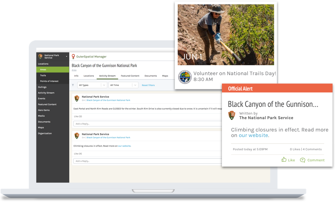 A laptop with OuterSpatial Manager open to the Black Canyon of the Gunnison National Park page. Next to the laptop is an official alert for the Black Canyon of the Gunnison, written by The National Park Service and an event thumbnail for a volunteer day.