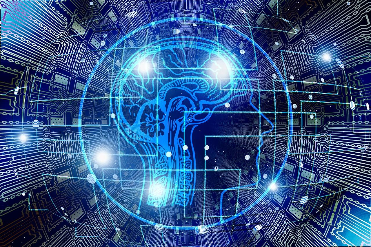 blue technological human head and brain