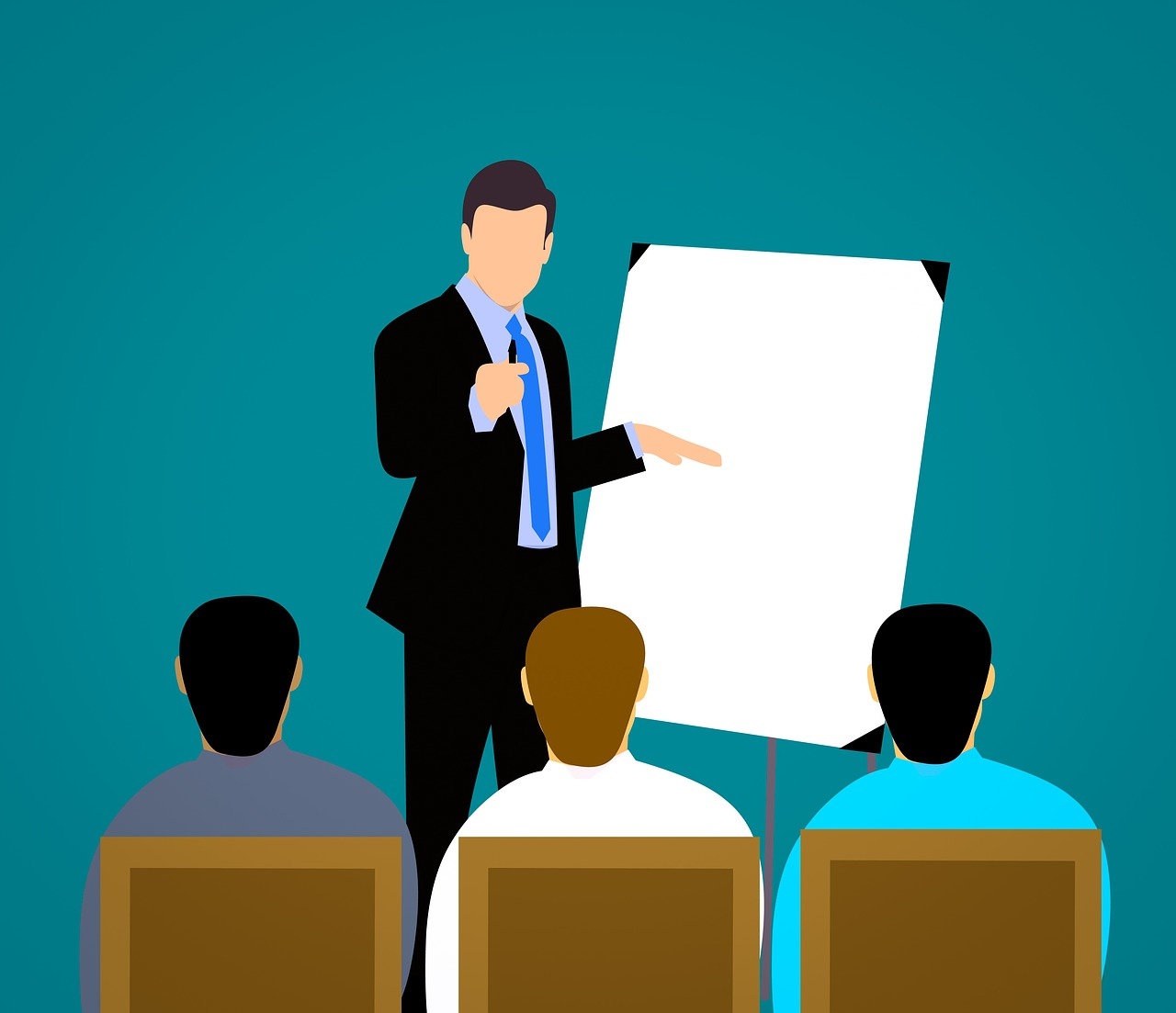 clipart of someone giving a presentation to 3 people