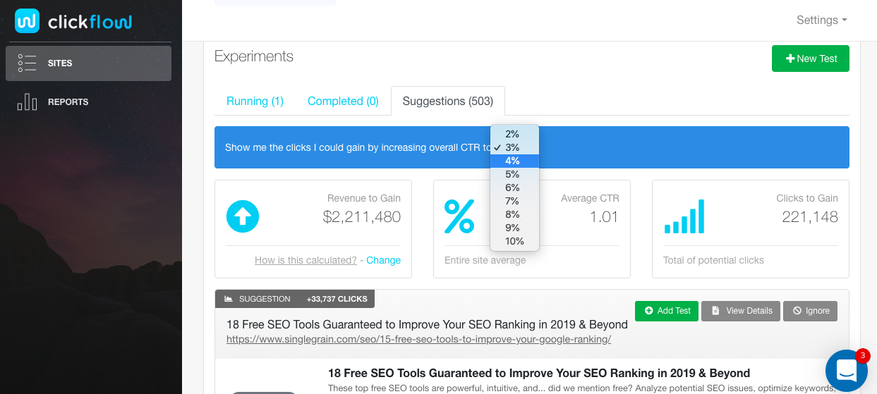 SEO a-b test - Clickflow