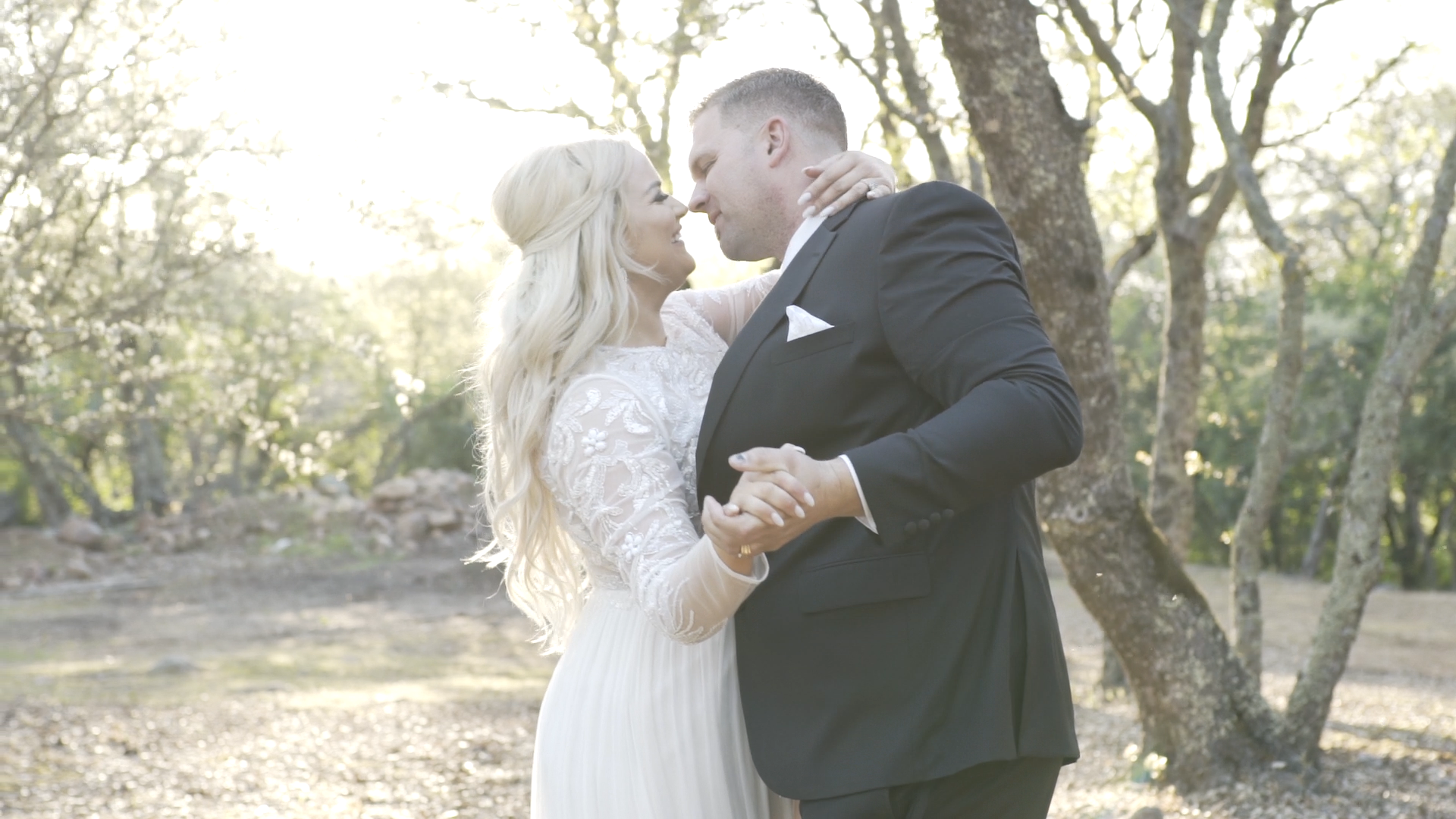 A Bride and Groom Dancing in the woods during their wedding video in Browns Valley, CA