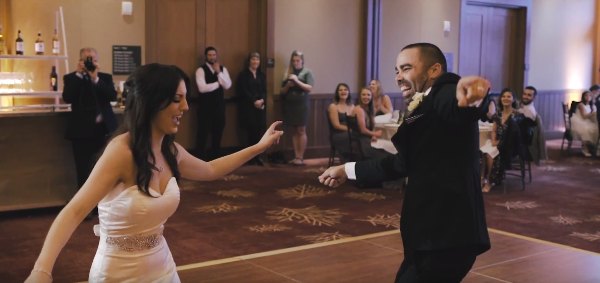 Bride and Grooms first dance during their wedding at the Ritz Carlton Hotel in South Lake Tahoe