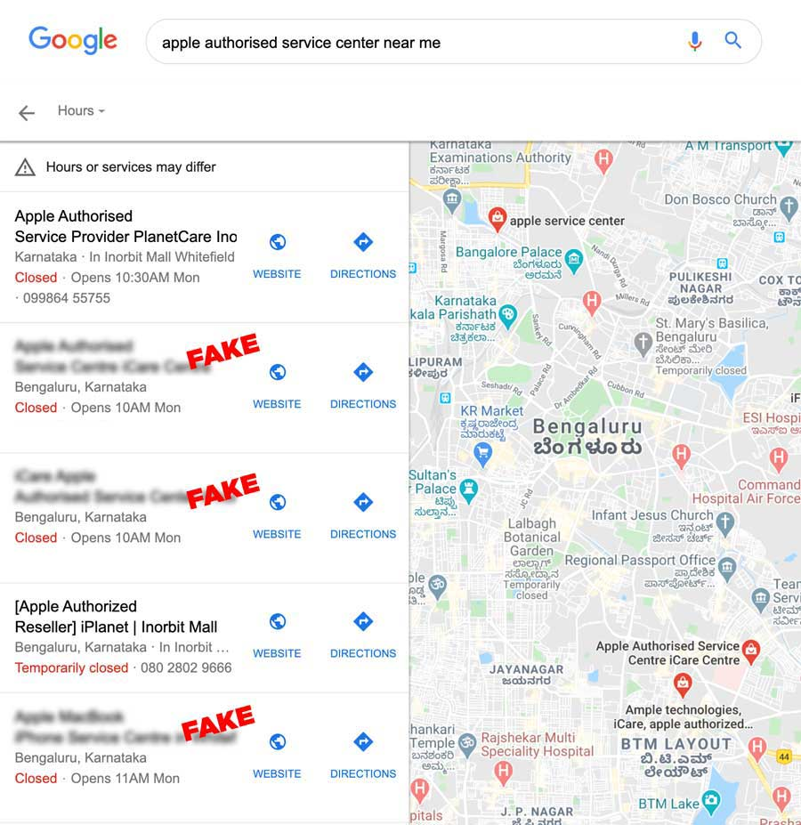 "Google Maps Result for keyword ""apple authorised service center near me"""