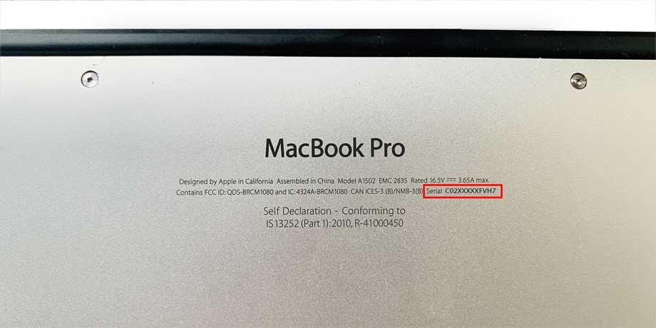 serial number on bottom panel of macbook