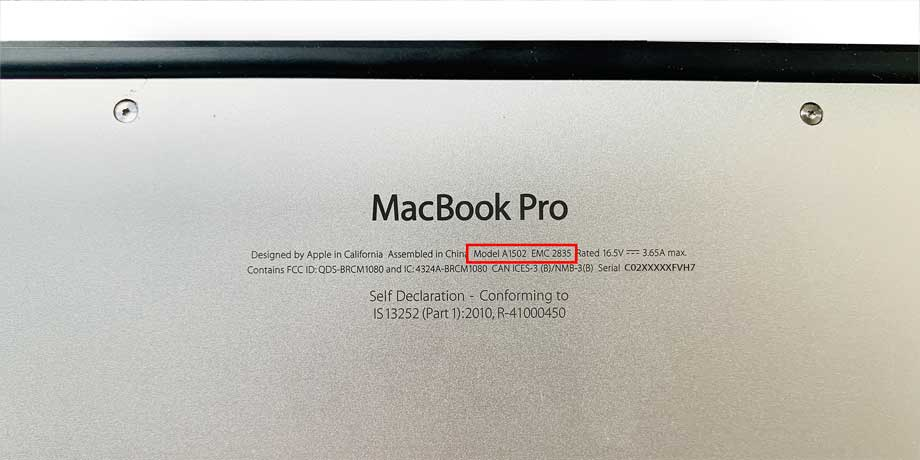 model number on the bottom panel of MacBook