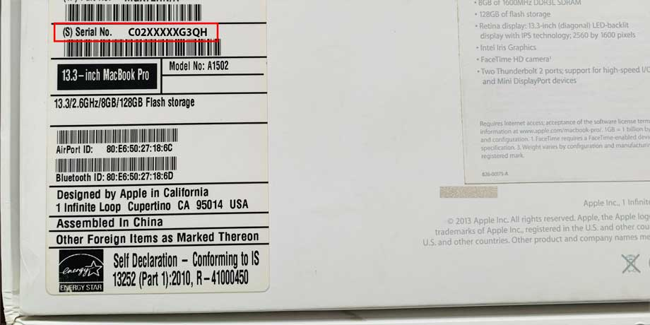 serial number on the carton box of a MacBook